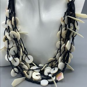 MOP mother of pearl shell multi strand necklace